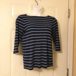 Time and Tru Boatneck Blue Striped Top